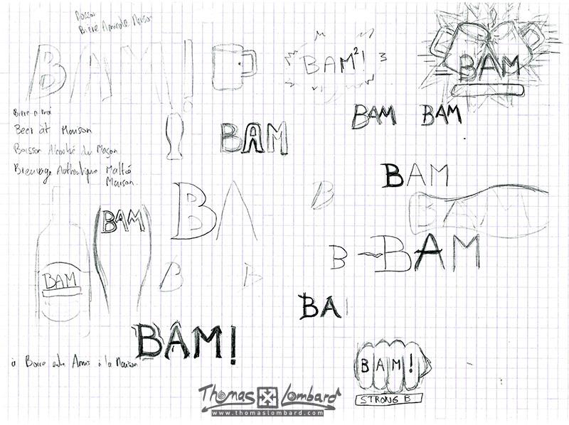Esquisses et recherches pour le logo de la bière BAM²!